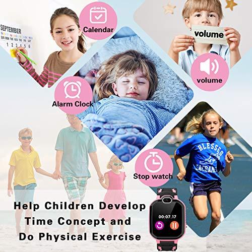 Kinder Smartwatch, Musik Player Telefon für Kind mit Schulmodus Puzzlespiel Alarm Clock Rechner intelligente Smart Watch Uhr für Jungen und Mädchen Geburtstag Festival Geschenk - Rosa