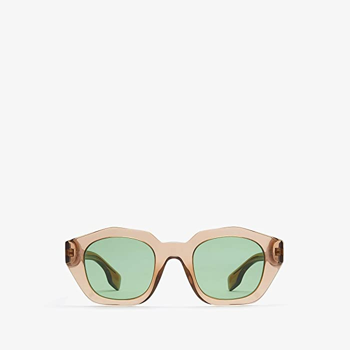 Burberry  0BE4288 (Transparent Brown/Dark Green) Fashion Sunglasses
