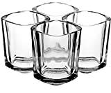Shot Glasses by Trendy Bartender - 2 Ounce Square Heavy Base Shot Glass for Whiskey, Tequila, Vodka, Jagermeister - Bonus Polishing Cloth & Liquor Pourer Included - Gift Box (4pcs, Clear)