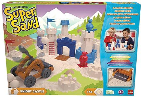 Goliath 83292 - Super Sand Knight Castle, modellierbarer Kinetik-Sand bringt Ritterburgen ins Kinderzimmer, handliche Sandkasten-Box, bunte Burg-Förmchen und viel Zubehör, ab 4 Jahren