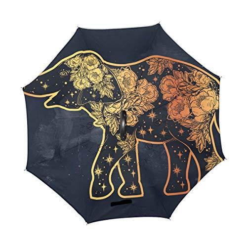rodde Paraguas Elefante Sagrado Mandala Vintage Inverso Invertido Reversible Lluvia del Sol para Uso en Exteriores de automóviles con Mango en Forma de C