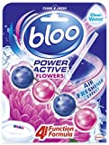Bloo Power Active Toilet Rim Block Fresh Flowers with Anti-Limescale, Cleaning Foam, Dirt Protection and Extra Freshness - 1x 50g, Pack of 1