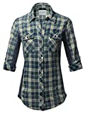 Made by Emma Women's Junior Fit Basic Button Closure Roll Up Sleeves Chest Pocket Denim Chambray