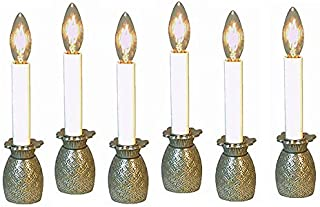 Kensington Row Christmas Collection Pineapple Electric Window Candlestick Lamps - Set of SIX - Pewter Finish