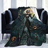 Flannel Fleece Throw Blanket for All Season Work Camping, Super Soft Halloween King Jack Pumpkin Fan Art Gift Wedding Blanket, Thick Better Relaxing 50x40 Inch