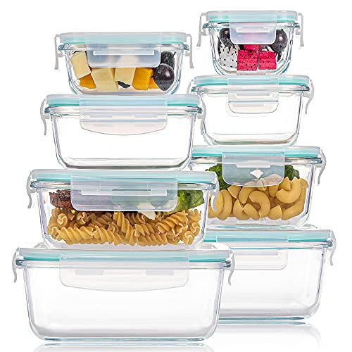 8 Pack Glass Food Storage Containers with Lids, Vtopmart Glass Meal...