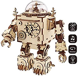 ROKR 3D Wooden Puzzle Music Box Craft Toys Best Gifts for Men Women Kids Machinarium DIY Robot Figures with Light for Chri...