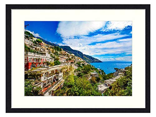 OiArt Wall Art Canvas Prints Wood Framed Paintings Artworks Pictures(20x14 inch) - Amalfi Coast Italy Positano Sorrento Amalfi