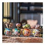 DYUNQ Mini Keramik Blumentopf, Set von 4 Modern Style, Sukkulente Kaktus Bonsai-Pflanzer Töpfe Container (7.5X9.2 cm)