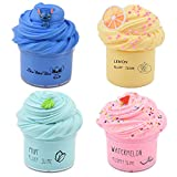 Magictoy 4 Pack Butter Slime,Yellow Lemon,Blue Stitch,Pink Watermelon and Mint Green Slime,Super Soft and Non-Sticky, Party Favors for Boys and Girls