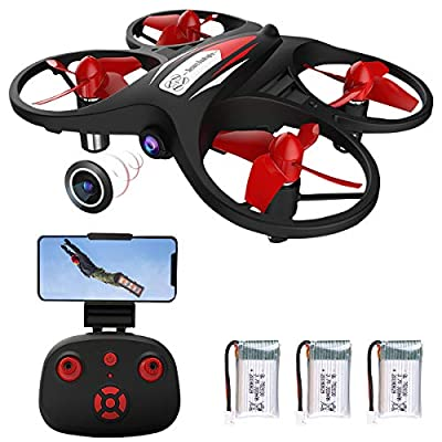 Makerfire Mini Drone for Kids 2.4G WiFi FPV Drone with Camera 720P WiFi Real-Time Transmission Gravity Sensor Voice Control Altitude Hold Headless Mode APP Control (with 3 Batteries)