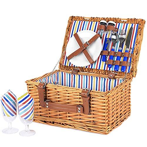 Wicker Picknickkorb für 2 Personen, Willow Hamper Basket Sets, handgefertigter Picknickkorb für 2 Personen mit Utensilienbesteck Perfekt für Picknick, Camping Color Stripe