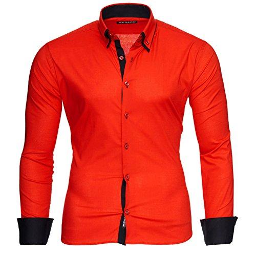 Reslad Herren Hemd Männer Hemden bügelfrei figurbetont Freizeithemd Business 2 Knopf Doppelkragen RS-7050 Rot Schwarz Gr XL