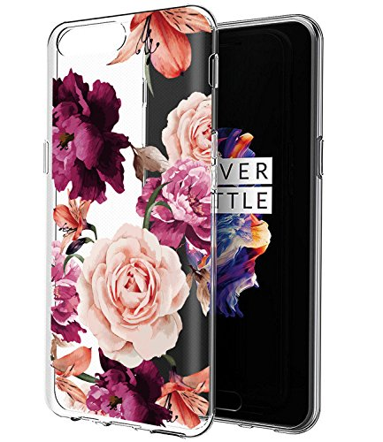 OnePlus 5 Case, OnePlus 5 Case with Flowers BAISRKE Slim Shockproof Clear Floral Pattern Soft Flexible TPU Back Cove for OnePlus 5 [Purple Pink]