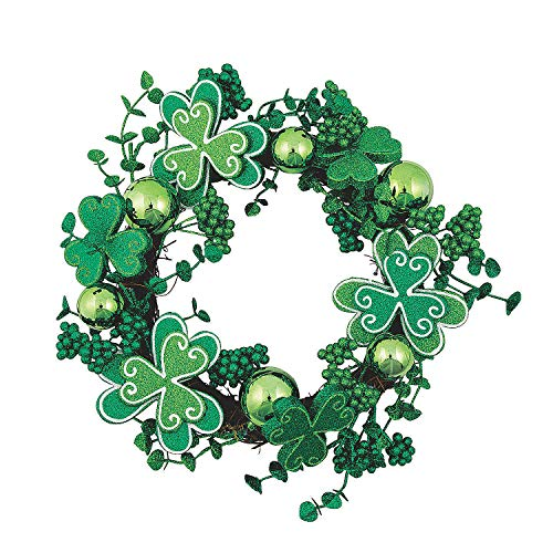 Decorative Shamrock Wreath for St. Patrick's Day - 13 Inches in Diameter - 1 Wreath