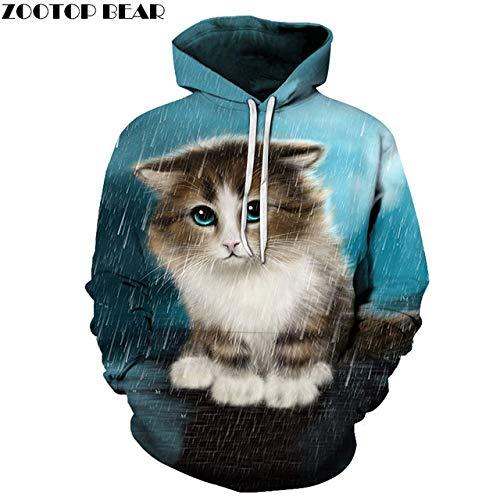 zysymx Red Eye Cat 3D-Druck Hoodies Männer Frauen Sweatshirt mit Kapuze Trainingsanzüge Mode Pullover 6XL Hoody Streetwear Frühling Mantel