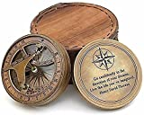 Antique Nautical Brass Sundial Compass W Leather Cover - Working Replica Compass Sundials for Garden Brass Compass Compass Necklace for Men Kinetic Clock Vintage Compass Nautical Compass