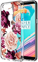 OnePlus 5t Case, 1+ 5T Case with Flowers BAISRKE Slim Shockproof Clear Floral Pattern Soft Flexible TPU Back Cover for OnePlus 5t [Purple Pink]