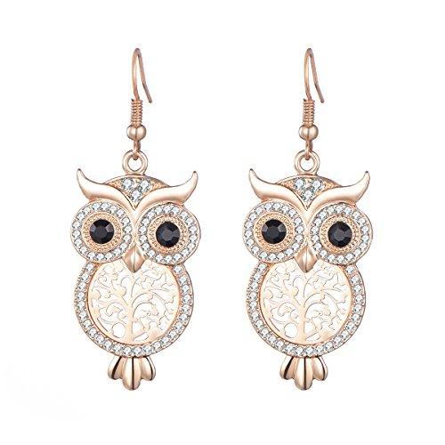 Dangle Earring for Women,Owl Drop Earring Shining Rhinestone Earring Rose Gold Earring with CZ Crystal (Rose Gold)