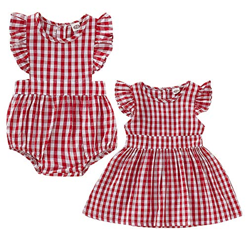 Tianhaik Conjunto de ropa a juego para niñas grandes y hermanas, pelele rojo a cuadros, vestido de verano