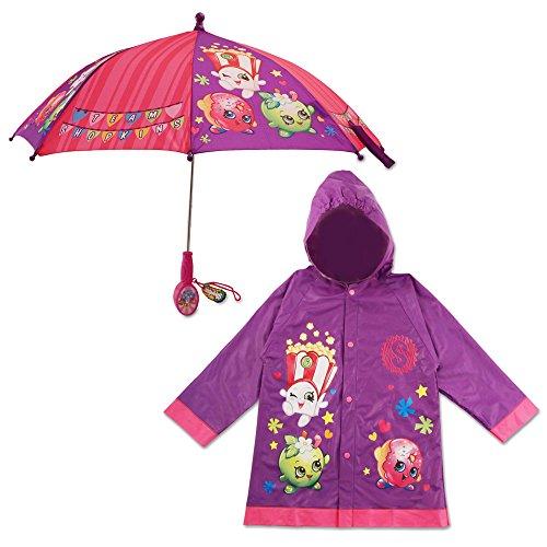 Shopkins Little Girls Character Slicker and Umbrella Rainwear Set, Age 2-7, Age 4-5, Purple