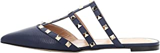 Themost Mules for Women Rivet Stud Pointed Toe Mule Studded Strappy Slipper Flat Sandals Slip On Loafer Slides Nude