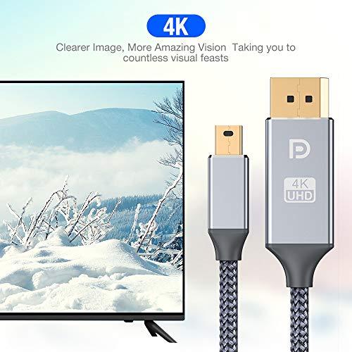 Mini DisplayPort auf Displayport Kabel 2M,4K @60Hz/2K@144Hz Ultra HD,Mini DP auf DP Kabel,Mini Displayport (Thunderbolt) Adapter kompatibel mit MacBook Pro/Air, Mac Pro,Surface Pro und mehr