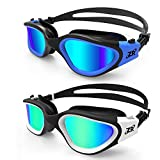 ZIONOR Swimming Goggles, 2 Packs G1 Polarized Swim Goggles UV Protection Watertight Anti-fog Adjustable Strap Comfort fit for Unisex Adult Men and Women (BlackBlue+WhiteGold)