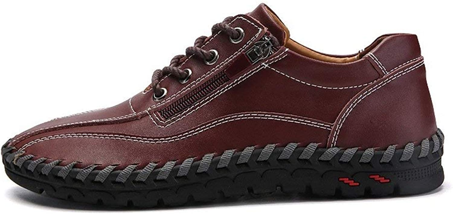 ZHRUI Casual Men shoes Walking Leather Loafers Lace up Men Sneakers (color   Red Brown, Size   7=41 EU)
