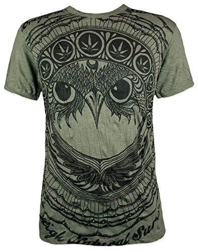 Sure Herren T-Shirt - Die Ganja Eule Cannabisblatt Totem Indianer Krieger Nachteule Maya Ethno Afrika Aum Ärmelfrei Männer Freizeit Kurzarm (Olive Grün XL)