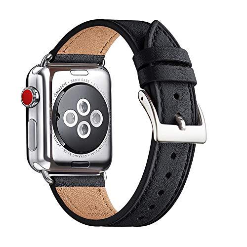 QAZNZ Correa de piel compatible con Apple Watch de 40 mm, 38 mm, 44 mm, 42 mm, correa de repuesto original compatible con iWatch Serie 6 5 4 3 2 1 & iWatch SE (42 mm, 44 mm), color negro y plateado