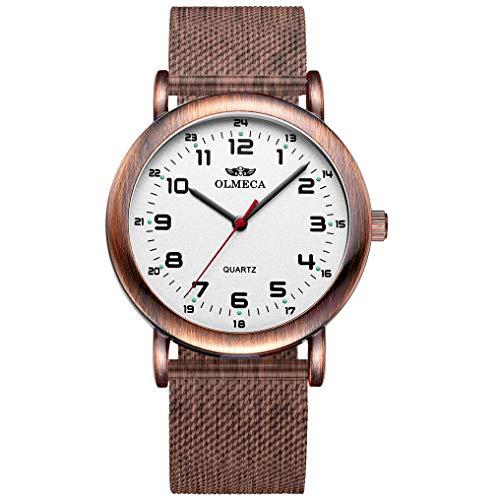 OLMECA Men's Watch Wrist Watches Analog Quartz Waterproof Stainless Steel Mesh Band Simple Watch for Men 709wd (Bronze)