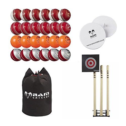 RAM Top Sport Cricket Bowling Coaching Set - Bälle, Stumps, Target, Marker & Tasche