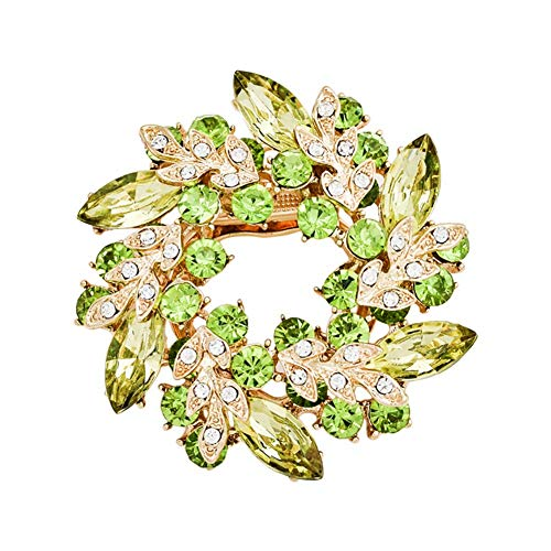 SONGAI Fashion Jewelry Brooch Alloy Diamond Bauhinia Pin Scarf Buckle Dual-use Men and Women Clothing Accessories size 6 * 6CM (light Green) Bracelets Earrings Rings Necklaces