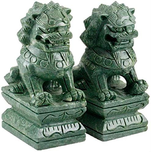 Attrezzatura vivente Una coppia di statue di leoni di Pechino Ornamenti cinesi Decorazione Statue di leoni guardiani cinesi tradizionali con finitura in pietra Decor Essere applicabile compatibile