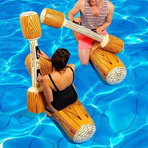 2 Stück Set aufblasbare schwimmende Reihe Battle Logs Wasserspielzeug, interessante schwimmende Bett Pool Liege Riesenschwimmer Fahrt Boot Floß,Erwachsene Kinder Pool Party Wassersport Spiele Log