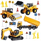 Build Me Diecast Construction Vehicles Tractor Set of 4 Metal Friction Powered Pull Back Toys with Excavator,...