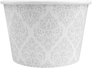Silver Paper Ice Cream Cups - 8 oz Elegant Cups For Weddings & Receptions - Many Sizes! Frozen Dessert Supplies - 50 Count