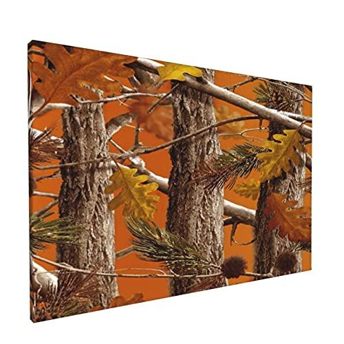 Arte de pared,Camo Trees Naranja Moda,pinturas al óleo enmarcadas impresas en lienzo Obra de arte moderna para sala de estar dormitorio decoración de pared de oficina