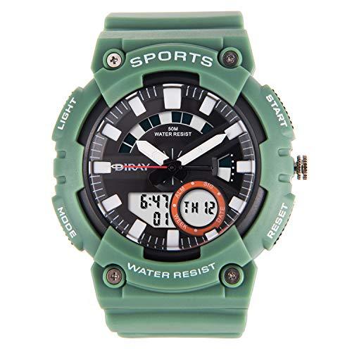 DIRAY Digitale Uhren Analog Digital Sportuhr 50M Wasserdicht Outdoor Sports Digitaluhren Analog Armbanduhr mit Wecker/Timer