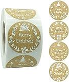 RTUTUR 500PCS Merry Christmas Stickers, Etiquetas Adhesivas, Papel del Arte Decorativas Sellado Etiquetas for Navidad de la Empresa sorteo al Horno Bolsa Boutique Artes Hechos a m