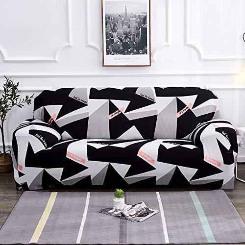 WXQY Estiramiento elástico de la Funda geométrica del sofá para la Funda del sofá de la Silla Moderna, Funda Protectora de los Muebles de la Sala de Estar A16 2 plazas