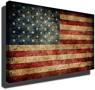 PrintFactory Canvases Vintage American Flag Premium Wall Canvas Art Print for Room, Kitchen and Living Room Decoration 32x48