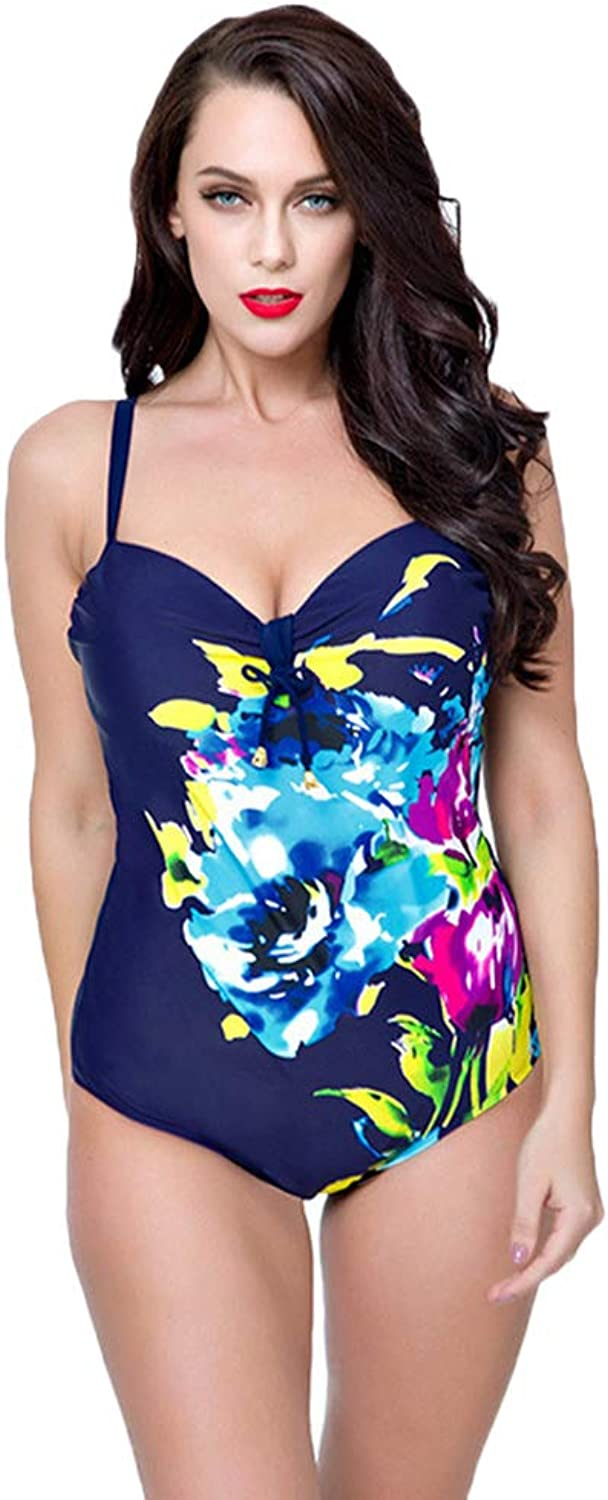 SGJFZD Swimsuits for Women Low Cut Backless Fahsion Design with Adjustable Ties and Printed Patterns Decorations High Waist One-Piece Sexy Bikini (color   Navy, Size   54)