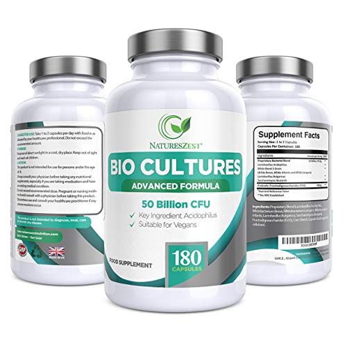 Natures Zest 50 Billion CFU Bio Cultures with Prebiotics 180 Capsules MAX Strength for Adults (Men/Women) Dietary Supplement with Acidophilus, Bifidobacterium Infantis - 6 Months' Supply