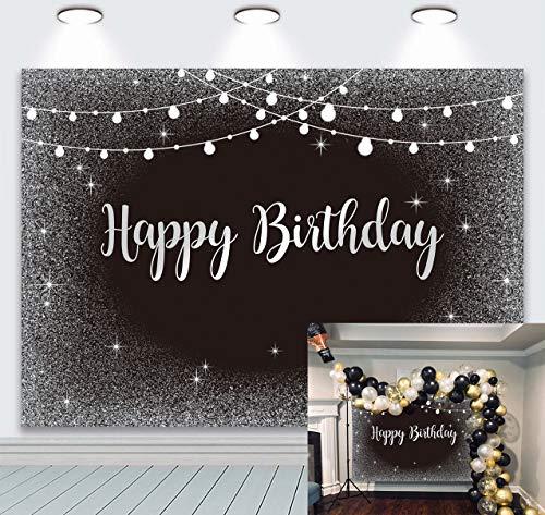 BINQOO Telón de fondo plateado y negro para fiesta de cumpleaños, 2,1 x 1,5 m, color gris brillante, para hombres, mujeres, adultos, fotografía de fondo, suministros para cabina de fotos