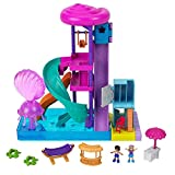 Polly Pocket Pollyville Super Slidin' Water Park with Micro Polly & Lila Dolls, Water Park with Water Feature, 3 Slides, Jellyfish Fountain, Ticket Booth & Locker Room, Water-fillable