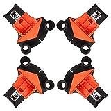 Morsetti per Woodworking 60° 90° 120° multi angolo, tenditore angolare per aste di materiale come 5 – 22 mm, 4 pezzi di tenditori angolari, durevoli, per cassetti inclinati, falegnameria, arancione