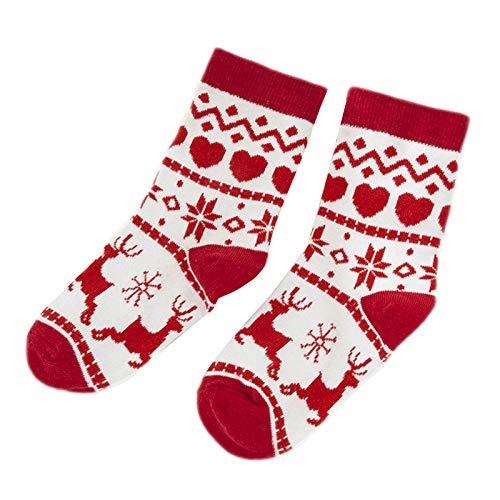 URIBAKY 1 par de calcetines de cachemira, cómodos para niños/adultos, cómodos y transpirables, para regalos vintage de Navidad Rojo-3 S