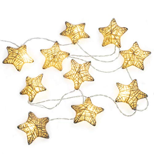 West Ivory 6 feet 10 LED String Fairy Light w/Metal Covered Stars Battery Powered Decorative Indoor Outdoor, Warm White